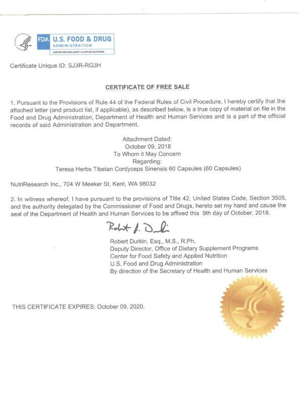 Giấy phép FDA của Đông trùng hạ thảo